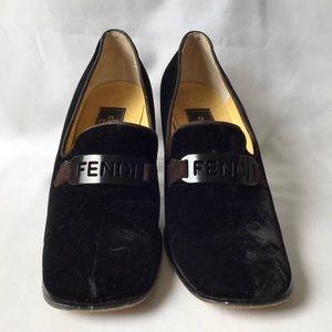 Fendi Black Velvet Loafer w/ Brown Heel, Sz 9M